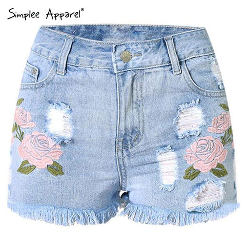 Simplee Apparel Casual beach high waist shorts Sexy hole fringe denim shorts women summer floral embroidery jeans shorts - Hespirides Gifts - 1
