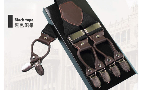 Fashion leather alloy 6 clips male vintage casual suspenders commercial western-style trousers man's braces strap - Hespirides Gifts - 4