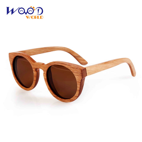 bamboo wooden sunglasses round frame sunglasses - Hespirides Gifts - 1