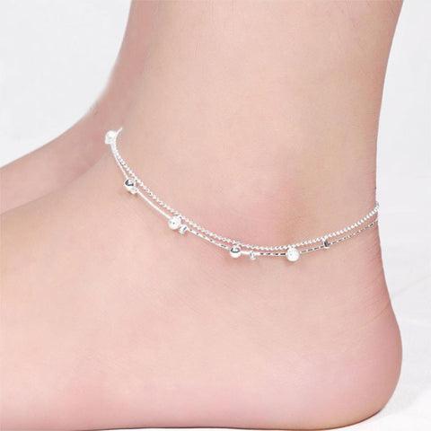 Women Silver Plated Anklet Bead Ankle Bracelet Fashion Anklets for Women New Foot - Hespirides Gifts - 1