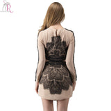 Pencil Long Sleeve Bodycorn Dress with Contrast Lace Panel O Neck S-Large Spring Bestseller - Hespirides Gifts - 5