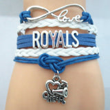 Infinity Love ROYALS baseball Sports Team Bracelet blue white Customize Sport friendship Bracelets B09333 - Hespirides Gifts - 6