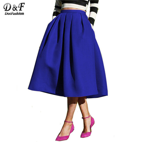 Sheinside Female Fashion Street Style Women's Solid Casual Flare High Waist Pleated Pockets Vintage Midi Skirt - Hespirides Gifts - 1