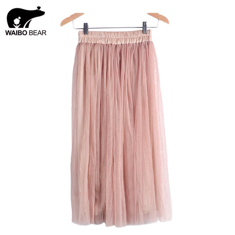 Skirt Ladies Elegant Casual High Waist Pleated Skirt Long Tulle Skirts Straight Skirts Solid Mesh Skater Skirt WAIBO BEAR - Hespirides Gifts - 1