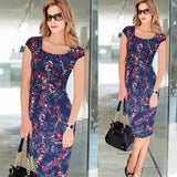 Vfemage Women Belted Elegant Floral Print Check Cap Sleeve Tunic Work Business Casual Party Pencil Sheath Wiggle Dress 288 - Hespirides Gifts - 4