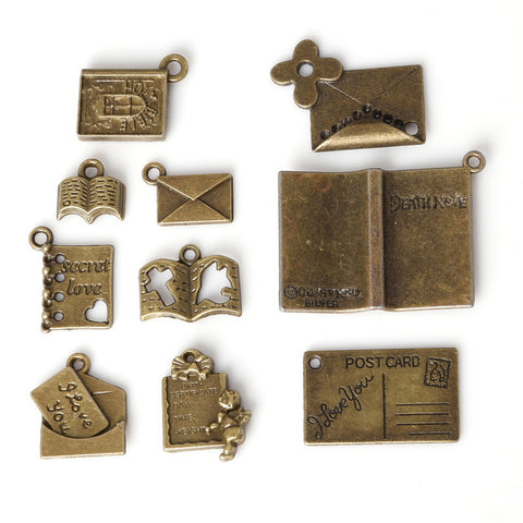 Mixed Bronze Plated Book Letter Dairy Charms Pendants for Jewelry - Hespirides Gifts - 1