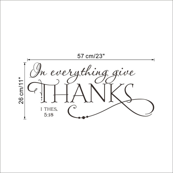 In everything give THANKS Christian Jesus Vinyl Quotes Wall Sticker Art decal room - Hespirides Gifts - 1