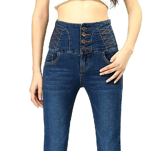 New Big Yards Breasted Waist Jeans Casual Slim Was Thin Pencil Pants Trousers For Women - Hespirides Gifts - 1