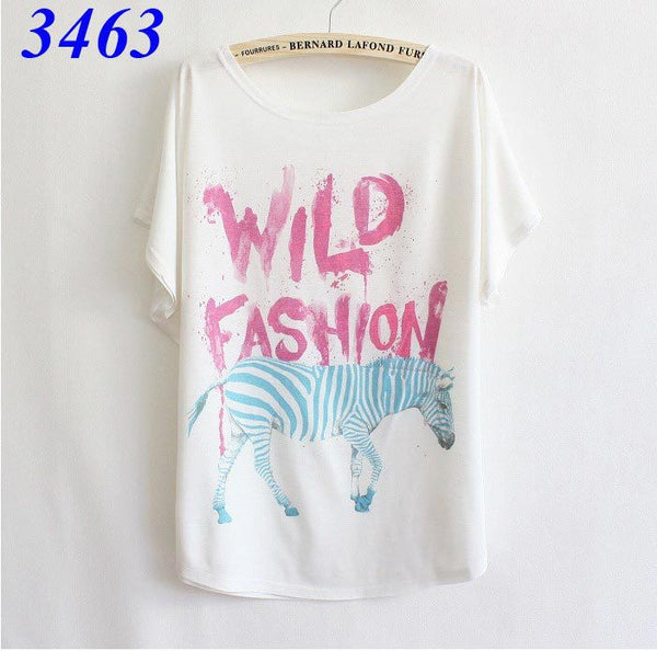 loose women's cotton T-shirt print animals cute panda good quality batwing tops - Hespirides Gifts - 14