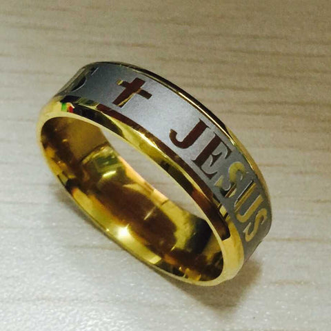 Titanium Steel 18K silver gold plated jesus cross Letter bible wedding band ring - Hespirides Gifts