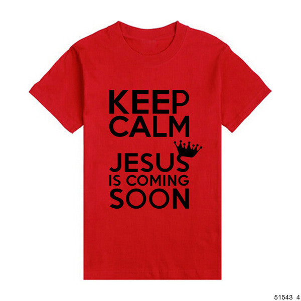Keep Calm Jesus Is Coming Soon Tshirts Catholic God Christian T-shirts Men Casual