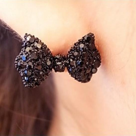Fashion Black Bow Tie Stud Earrings - Hespirides Gifts