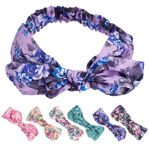 Women Ladies Girls Rose Floral Flower Rabbit Ears Headband Bow Knot Hair Band - Hespirides Gifts - 1