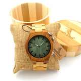 Bobobird M006 Mens Top Brand Design Green Wood Dial Full Bamboo Wooden Quartz Watches Japan 2035 Miyota Movement