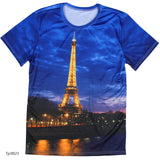 european style creative t shirt fashion sightseeing printing t-shirt short sleeve o neck - Hespirides Gifts - 19