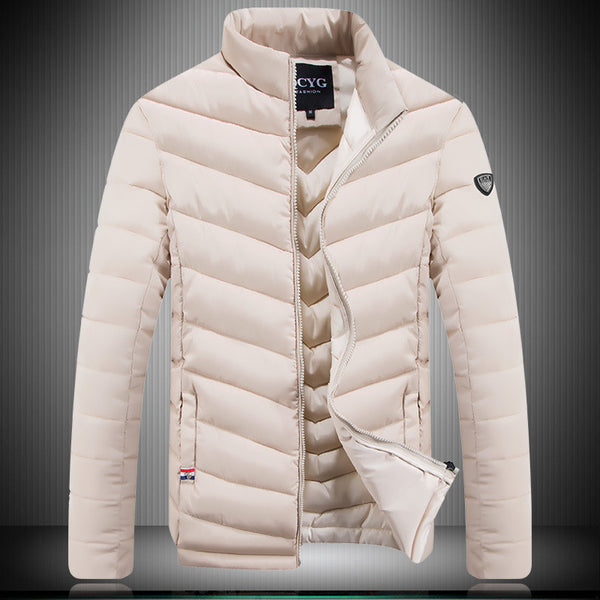 new brand QCYG hot men's winter collar fashion slim sports down cotton men jackets business casual warm coat mens jacket - Hespirides Gifts - 6