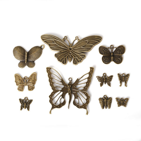 Mixed Bronze Silver Plated Butterfly Charm Pendants Bracelet Necklace - Hespirides Gifts - 1