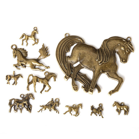 metal bronze plated charms horse pendants hand made supplies fit necklaces bracelets jewelry making - Hespirides Gifts - 1