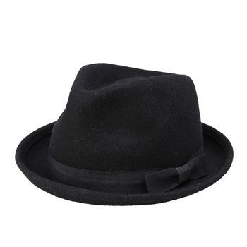 Men Women 100% Wool VTG Black Style Felt Trilby Hat BNWT/NEW Gangster Fedora hat - Hespirides Gifts - 3