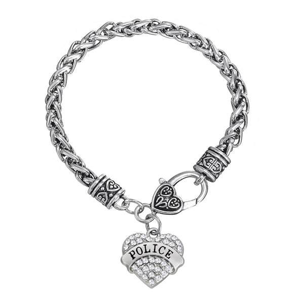 Police Charm Bracelets Crystal Memorial Heart Police GIRL / Police MOM / Police WIFE