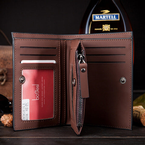 New Arrival Fashion Short designer Nubuck leather Men wallets with zipper three folds - Hespirides Gifts - 3