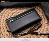 Hot New Brand Design zipper Fashion black genuine leather men wallets long casual brown - Hespirides Gifts - 3