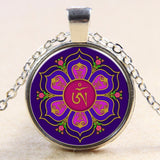 Newest Style Casual Yoga OM Pendant Necklace Fashion Round Ethnic Silver Plated - Hespirides Gifts - 9