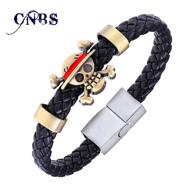 Hot Animation Luffy Alloy Bracelets One Piece Weave leather bracelet & Bangle cosplay jewelry - Hespirides Gifts - 1