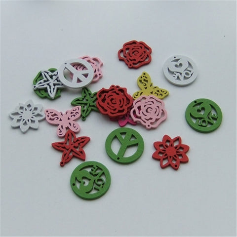 Mixed Shapes Pictures Colors 100 pcs Wooden Flower Star Butterfly Peace Beads/Earring/Charms Jewelry Making - Hespirides Gifts