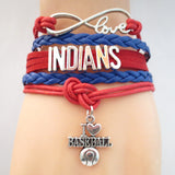 Infinity Love INDIANS baseball Sports Team Bracelet Customize Sports friendship Bracelets B09337 - Hespirides Gifts - 5