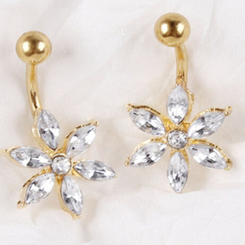 Flower 18K Gold Plated Navel Ring Percing Nombril Belly Piercing Belly Rings Body - Hespirides Gifts