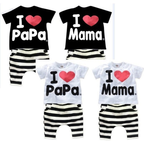 Retail 1set! Children Clothing Summer Set boys girls I Love Papa and Mama short sleeve t-shirt+pants suit kids pajamas set - Hespirides Gifts - 1