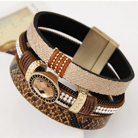 Pulseira Masculina Leather Bracelet With Magnetic Clasp Fashion Wrap Bracelets & Bangles for Women Men Jewelry Pulseras bijoux - Hespirides Gifts - 1
