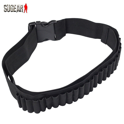 Outdoor Airsoft Hunting Tactical 25 Shotgun Shell Bandolier Belt 12 Gauge Ammo Holder Men Military Shotgun Cartridge Belt Black - Hespirides Gifts - 1