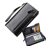 Hot New Brand Design zipper Fashion black genuine leather men wallets long casual brown - Hespirides Gifts - 1