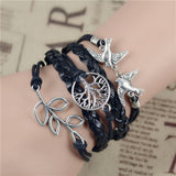 New Mix Infinity Love Leather Love Owl Leaf Charm Handmade Bracelet Bangles - Hespirides Gifts - 3