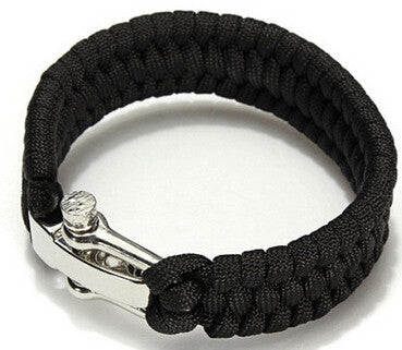 Paracord Survival Bracelet Men Camping Outdoor Woven Parachute Shackle Pin Buckle - Hespirides Gifts - 5