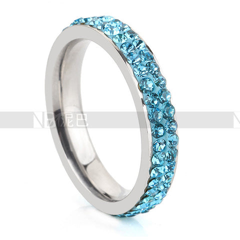 Fashion Stainless Steel Ring Double Thin Blue Lines Police Crystal Jewelry - Hespirides Gifts