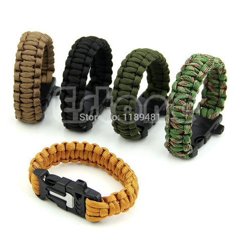 Paracord Outdoor Survival Bracelet Whistle Gear Kits Flint Fire Starter - Hespirides Gifts - 1