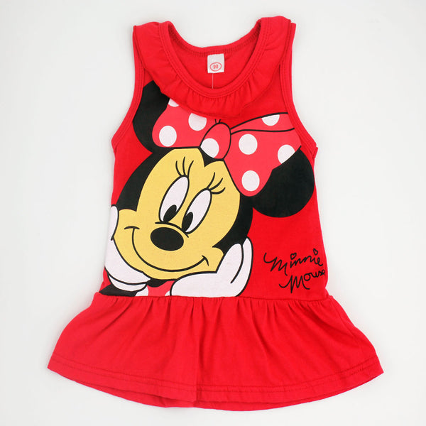 Spring Summer Minnie Children Cute Princess Dresses Baby Girl Dress Fashion Cartoon Clothing 2 Colors Pink Red