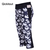 S-XL Fashion New Women's 7 point pants women leggings Smiley face Skull digital print women high waist Side pocket phone pants - Hespirides Gifts - 2