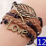 Vintage Bird Owls Anchor Bracelets Wrap Leather Bracelet Charm bracelets - Hespirides Gifts - 15