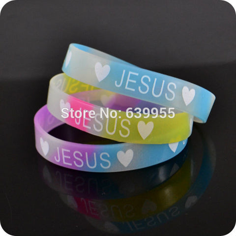 JESUS glow in dark silicone Bracelet wristband Fashion Christian Religious Jewelry - Hespirides Gifts