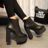 Women new ankle boots Short boots thick with High heels platform leather shoes ladies leather boots12cm heel - Hespirides Gifts - 1