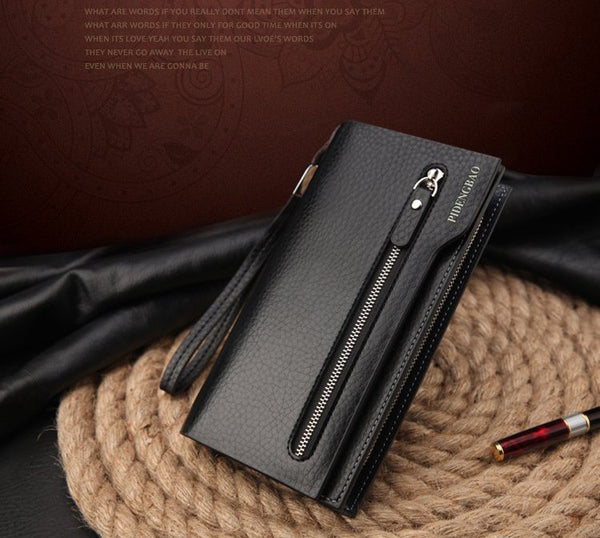 Hot New Brand Design zipper Fashion black genuine leather men wallets long casual brown - Hespirides Gifts - 4