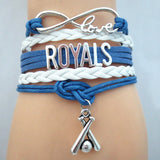 Infinity Love ROYALS baseball Sports Team Bracelet blue white Customize Sport friendship Bracelets B09333 - Hespirides Gifts - 1