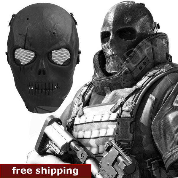 Skull Skeleton Airsoft Paintball BB Gun Full Face Protect Mask Shot Helmets Foam padded inside Black eye shield Full Cover - Hespirides Gifts - 1
