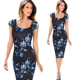 Vfemage Women Belted Elegant Floral Print Check Cap Sleeve Tunic Work Business Casual Party Pencil Sheath Wiggle Dress 288 - Hespirides Gifts - 10