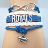 Infinity Love ROYALS baseball Sports Team Bracelet blue white Customize Sport friendship Bracelets B09333 - Hespirides Gifts - 5