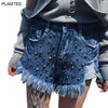 Ladies Shorts Women Fashion Vintage Denim Shorts Burr Rivet Punk Bermuda Feminina Loose High Waisted Ripped Short Jeans 2 Colors - Hespirides Gifts - 1